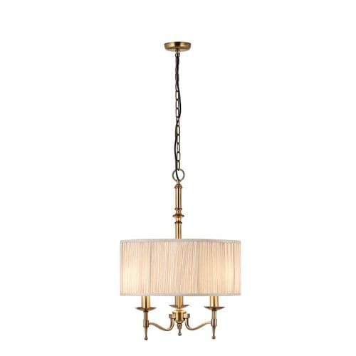 Stanford Antique Brass Ceiling Light Pendant with Beige Shade - Interiors 1900