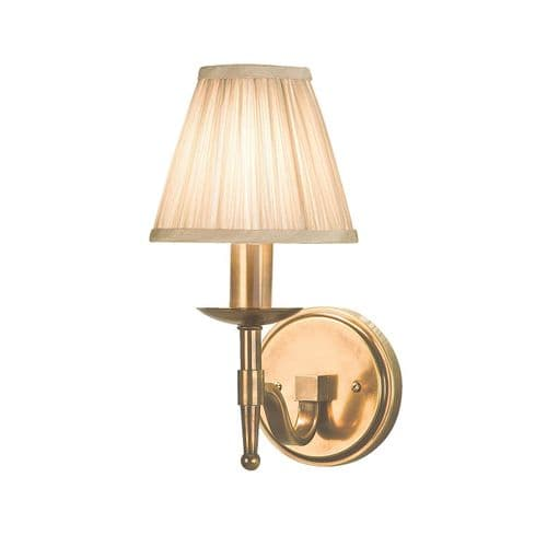 Stanford Antique Brass Single Wall Light with Beige Shade - Interiors 1900