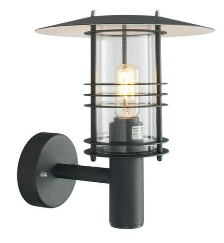 Stockholm Black Large Wall Lantern - Elstead Lighting