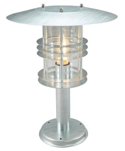 Stockholm Galvanised Large Pedestal Lantern - Elstead Lighting