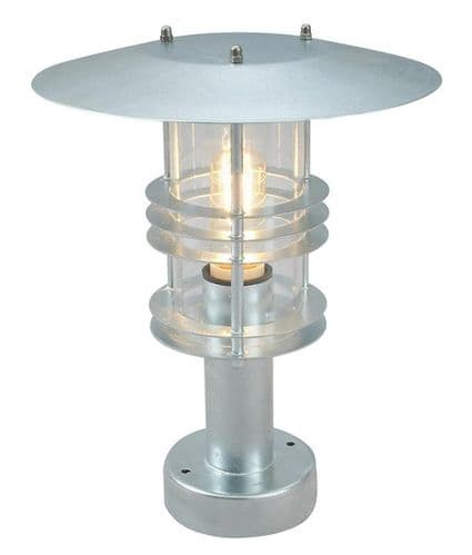 Stockholm Galvanised Pedestal Lantern - Elstead Lighting