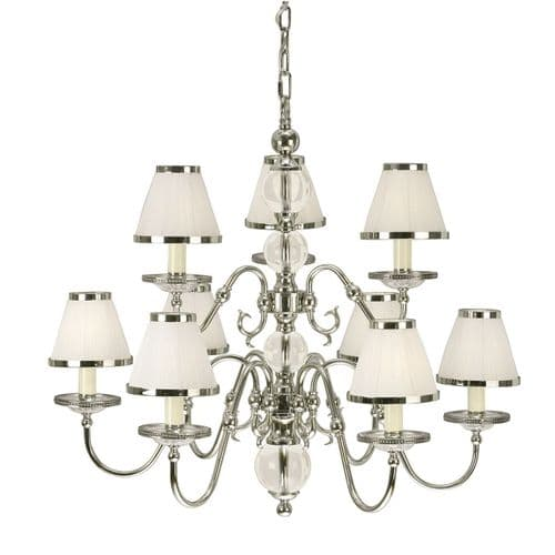 Tilburg Nickel 9 Light Chandelier with White Shades - Interiors 1900