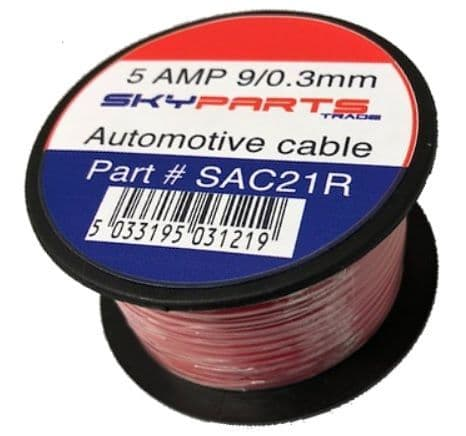 5 Amp 6 Metre Single Core Cable - Red