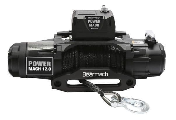 Bearmach Power Mach 12,000lb 12v Two Speed Winch with 10mmx27m Synthetic Rope & Wireless Remote