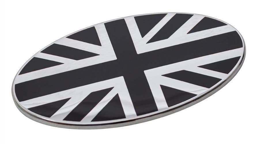 Black & Chrome Union Jack Oval Badge