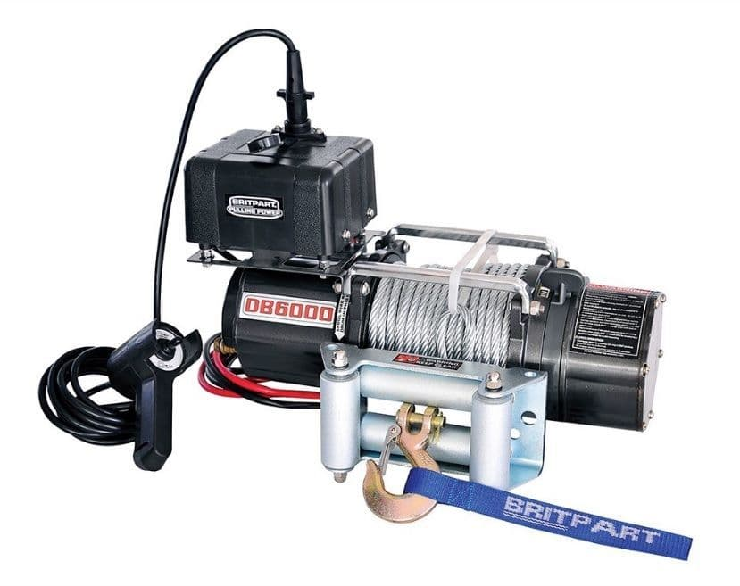 Britpart Pulling Power Winch 6000lbs Steel Cable - DB6000