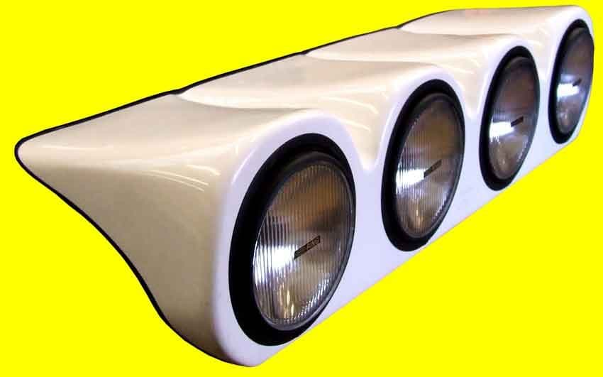 Discovery 2 - Bonnet Pod - White - Complete with 4 x 55 watt spot lights