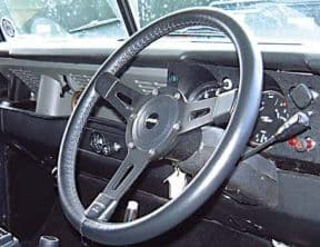 Land Rover Series 1 15inch 3 Spoke Leather Steering Wheel with Boss BLACK SPOKES