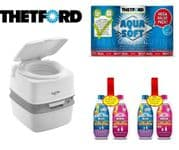Thetford 165 Portable Toilet Package (Inc: 1 x Toilet Rolls + 2 x Blue Chemical + 2 x Pink Chemical)