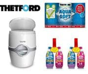 Thetford 565P Toilet (Manual Flush) + 2 Twin Pack Chemical + Aqua Soft